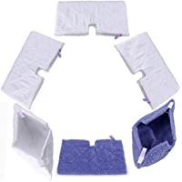 ProSESG(TM)(Packof 6)Replacement 4pcs White + 2pcs Purple Microfiber Washable Mop Pads for Shark Steam Pocket Mop S3901 S3501 S3601 S3550 S3801CO S3601A(12.5 x 7(32cm x 18cm))