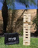 RYG Giant Wooden Toppling Tower, Large Tumbling Timbers Blocks, Wood Stacking Yard Game Jumbo Backyard Set with Carrying Case