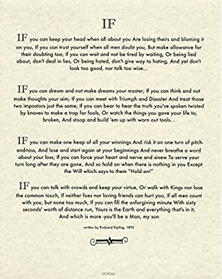Desiderata Gallery If Quote By Rudyard Kipling Author Of The Jungle Book 11x14 Museum Quality Archival Parchment