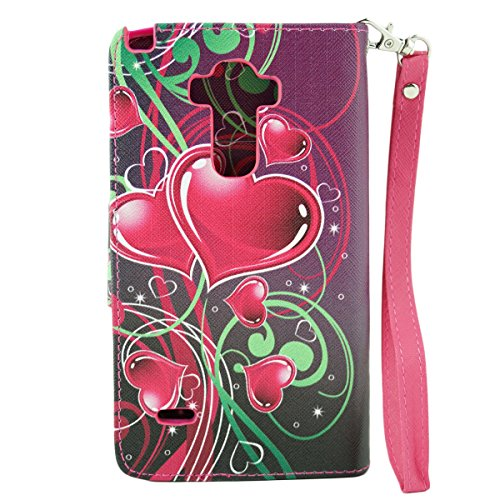 ZTE Warp Elite Case, Customerfirst Magnetic Folio Flip Book Wallet Pouch Case With Fold Up Kickstand and Detachable Wrist Strap For ZTE Warp Elite (Boost Mobile) (Cupid Hearts) Photo #4
