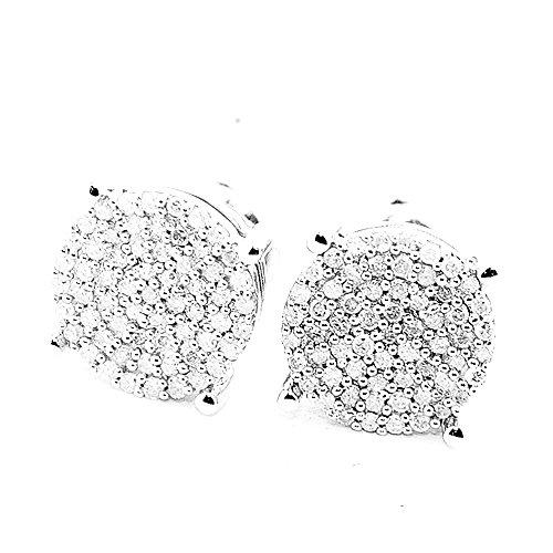 Earrings Diamond Big (1/5cttw (W) Diamond Stud Earrings 8mm Wide Round Cluster Screw Back Sterling Silver)