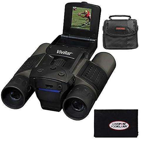 Vivitar 12x25 Binoculars with Built-in Digital Camera with Case + Cleaning Cloth (Binocular Vivitar)