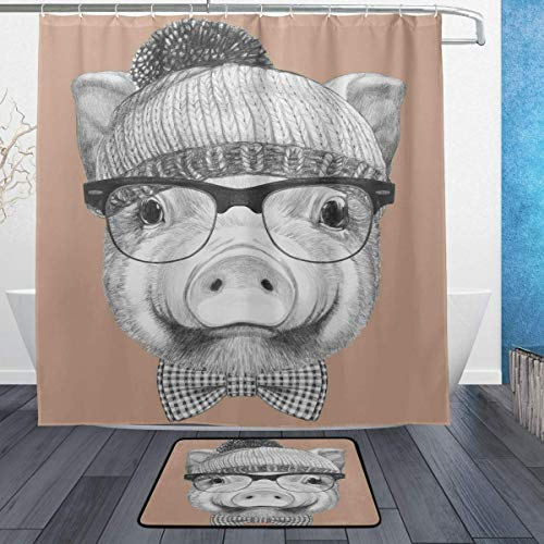 GoHeBe Pig Sunglasses Background Pattern Shower Curtain Set 3D Printing Waterproof Coated Polyester Fabric Bathroom with 12 Hooks 71 inches Indoor Floor Mat Bath Rugs ()