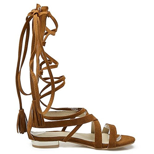 COOLCEPT Damen Mode-Event Schnueren Sandalen Open Toe Gladiator Shoes Braun