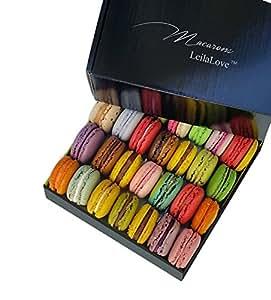 Leilalove Macarons - 16 Parisian Macaron Collections of dozen Flavors - Elegant Gentleman style gift box