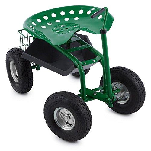 Waldbeck Park Ranger Gartensitz Rollsitz Gartenhelfer Gartenwagen (130 kg Belastbarkeit, fahrbar, Ablage, Stahl) grün
