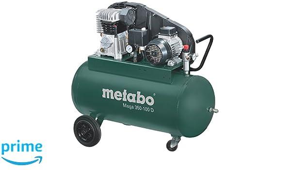 Metabo Mega 350-100 D - Compresor 3 CV 90 litros correas trifásico: Amazon.es: Bricolaje y herramientas