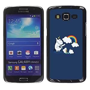 LECELL -- Funda protectora / Cubierta / Piel For Samsung Galaxy Grand 2 SM-G7102 SM-G7105 -- Funny Cute Unicorn Rainbow --