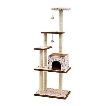 YGJT Árbol Rascador de actvidades Escalador para Gato Color marrón y Rosa