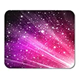 Boszina Mouse Pads Contemporary Black Retro Purple Abstract Shine Colorful Glow Stars Mouse Pad for notebooks,Desktop Computers mats 9.5'' x 7.9'' Office Supplies