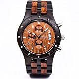 Bewell W109D Sub-dials Wooden Watch Quartz Analog Movement Date...
