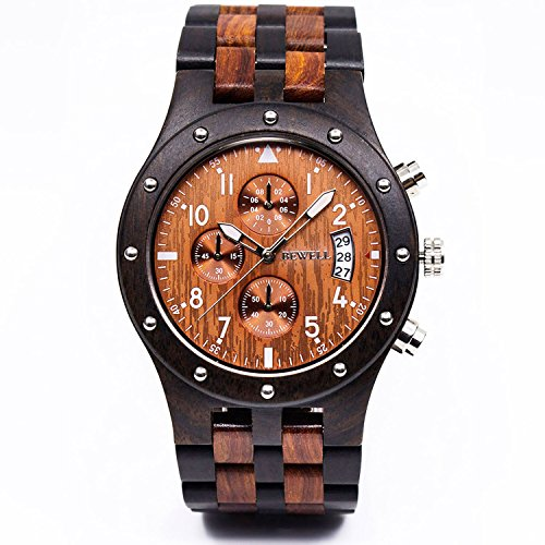 Bewell W109D Sub-dials Wooden Watch Quartz Analog Movement Date Wristwatch for Men