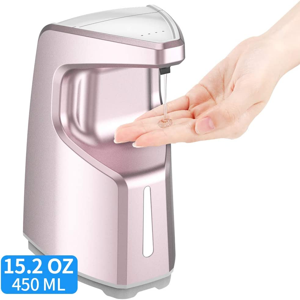 Hand Sanitizer Dispenser, Touchless Soap Dispenser, Automatic Wall Soap Dispenser, Kitchen Bathroom Soap Dispenser Hands Free, 15.2 oz /450ml Countertop Soap Dispenser w/Adjustable Volume-Rose Gold