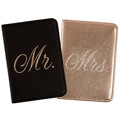Mirror Mirror Passport Wallets Travel Holder Set: Mr. & Mrs. Slim Waterproof Passport Case Covers & Organizer Slots for ID, Money & Credit Card - Black & Rose Gold by Mirror Mirror