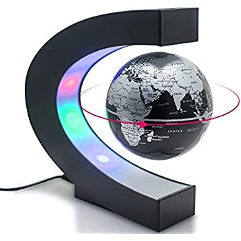 Amazon senders floating globe with led lights c shape magnetic fihco floating globe with led light c shape magnetic levitation floating globe world map for home office desk decoration black gumiabroncs Gallery