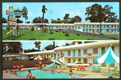 Royal Motor Lodge & Pool Santee SC postcard 1968