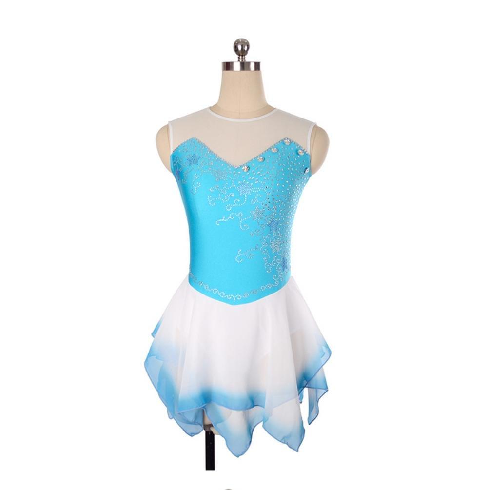 Heart&M Figure Skating Dress Women and Girls' Ice Skating Dress Performance Handmade Quick Dry Rhinestone Sleeveless Skating Wear bluee