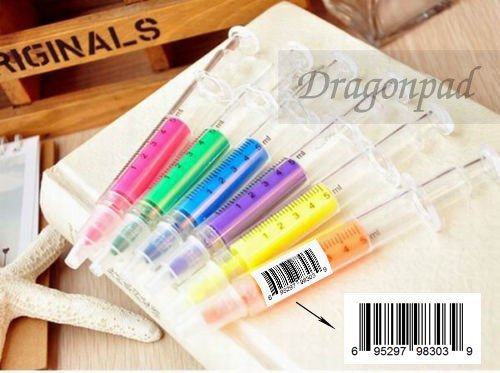 DragonPad 6 Pcs Syringe Highlighter Pen Plastic School Office Nurse Doctor Student Novelty