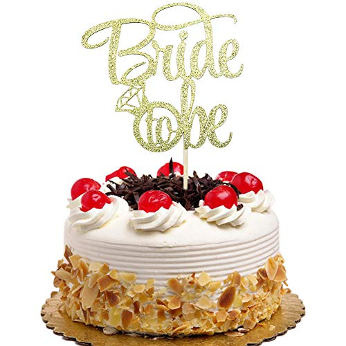 Bride to Be with Diamond Ring Cake Topper for Bridal Shower, Engagement, Bachelorette, Wedding Party Decorations Gold Glitter