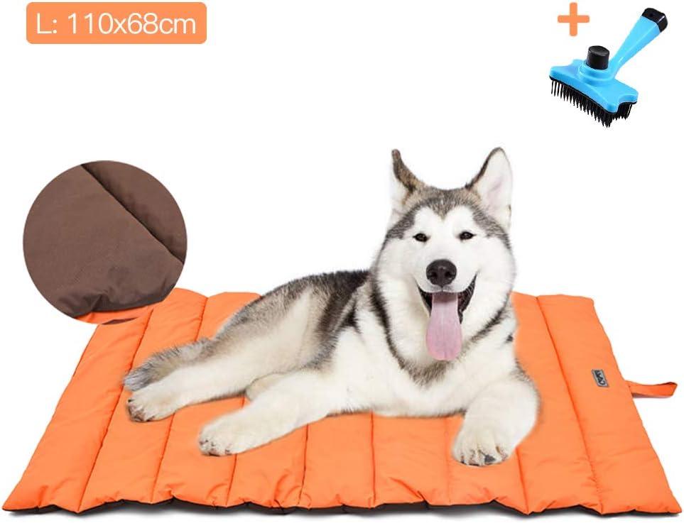 Cama para Perros Grande / Mediana Estera Portátil para Perros IMPERMEABLE Manta de Picnic Familiar Multifuncional 110x68cm Cojín para uso Interior y Exterior con Cepillo para Perros/Gatos (Naranja)
