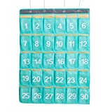 AZDENT Numbered Pocket Charts for Classroom Cell Phone Hanging Storage Organizers 30 Pockets (Green Blue)