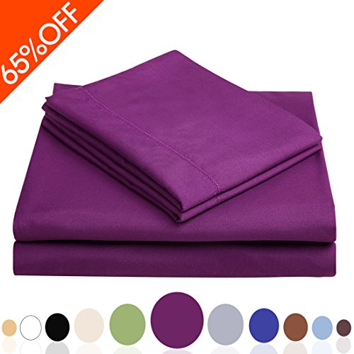 Balichun Deep Pocket Bed Sheet Set Brushed Hypoallergenic Microfiber 1800 Bedding Sheets Wrinkle, Fade, Stain Resistant - 4 Piece(Purple, Full)