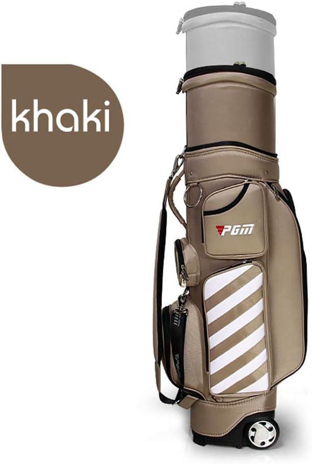 ホイールパテントデザインゴルフバッグ旅行航空バッグハードナイロンとPGM格納式ゴルフバッグ  Khaki