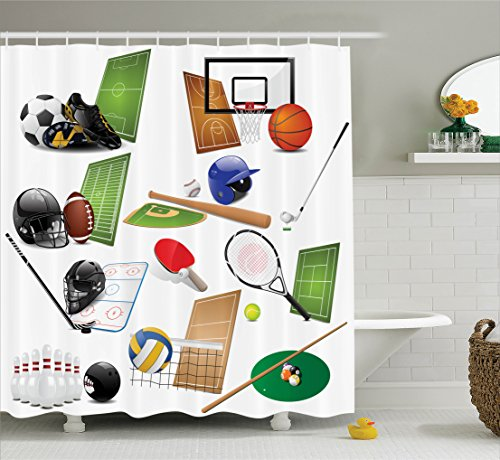 Ambesonne Sports Decor Collection, Sport Icons Equipments Hockey Racket Helmet Soccer Tennis Basketball Image Pattern, Polyester Fabric Bathroom Shower Curtain, 84 Inches Extra Long, Green Red Black by Ambesonne