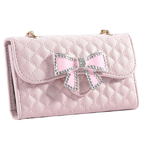 Galaxy S4 Case, S4 Case - ULAK Bling Glitter Rhinestone Bow Synthetic Leather Wallet Folio Case Cover Credit Card Holder w/ Magnetic Clasp for Samsung Galaxy S4 SIV i9500 (Lovely Pink) - Galaxy S4 Active Full Wallet Case