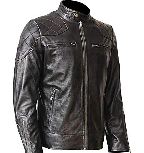 WONDERPIEL Men's Genuine Lambskin Leather Biker Jacket Inspired by David Beckham - Black (4XL)