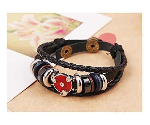 Fariishta Jewelry Genuine Leather Handmade Metal Beaded Bracelet Wrap Adjustable(2#)