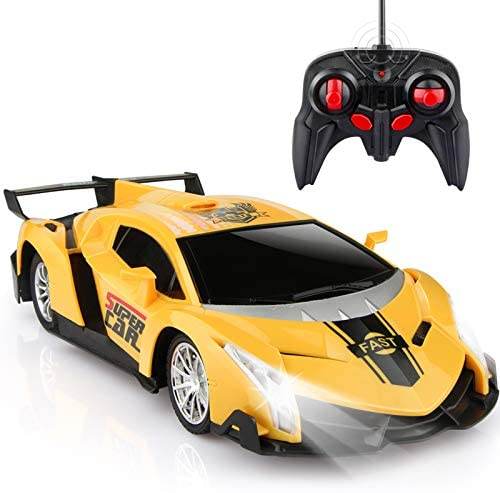 Growsland Remote Control Car, RC Cars Xmas Gifts for Kids 1/18 Electric Sport Racing Hobby Toy Car Yellow Model Vehicle for Boys Girls Adults with Lights and Controller
