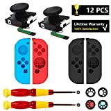 Joystick Compatible with Joy con, 2 Replacement Analog Stick Compatiable with Nintendo Switch Joycon, Left Right ThumbstickReplacement with Wing & Cross Screwdriver, 4 Silicone Cover, 4 Thumb Grip - Include Black Silicone Cover Version