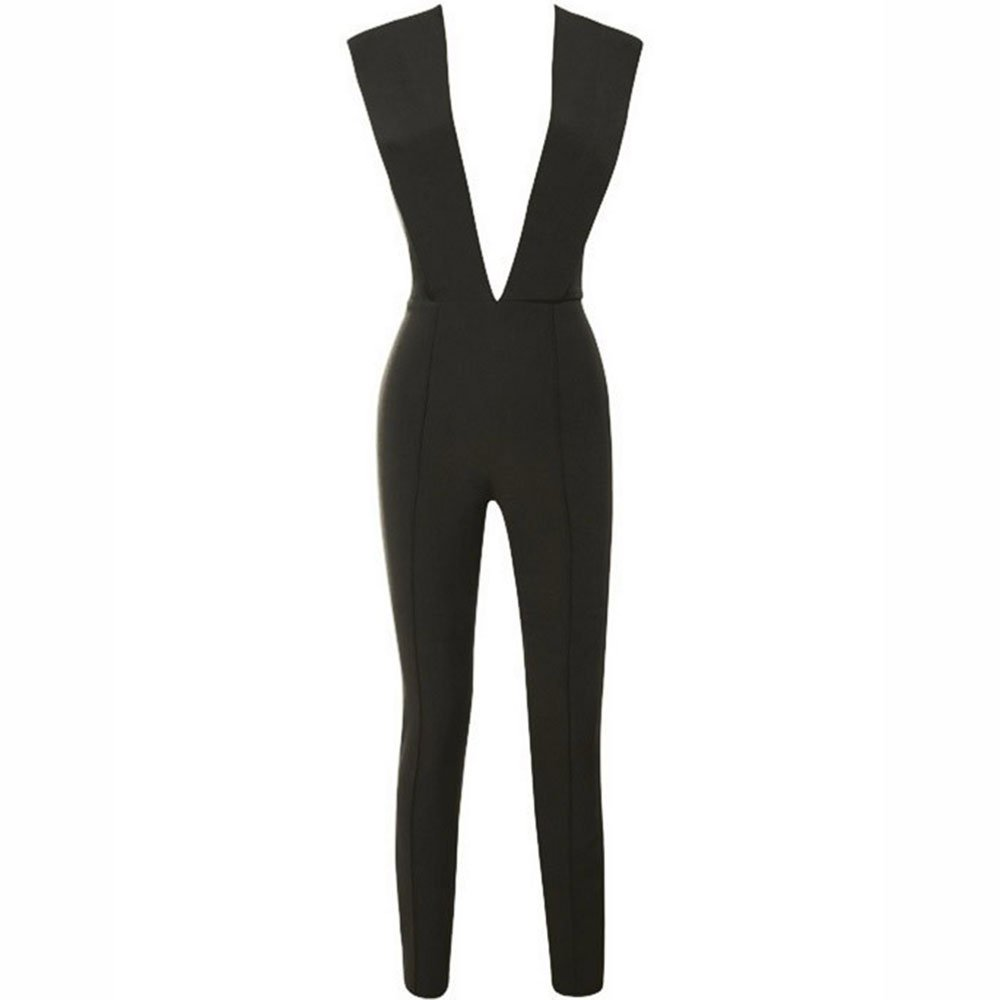 3dd638947c2a2 Amazon.com  HLBandage Deep V Neck Sexy Rayon Clubware Bandage Jumpsuit  Bodycon Romper Pants  Clothing