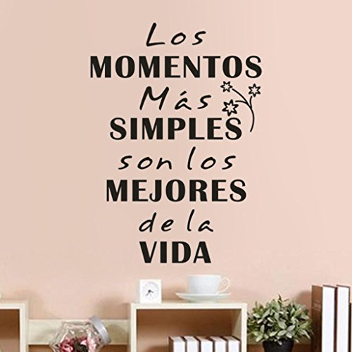 Snowfoller Los Momentos Slogan Vinyl Mural Modern Style Removable Vinyl Inspirational Wall Decals Words Letters