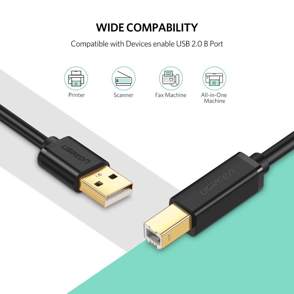 UGREEN Cable Impresora, Cable USB 2.0 Tipo A a Tipo B para Escáner, SAI, Arduino, Disco Duro, Fotografía Digital y Otros dispositivos (3 Metros): Amazon.es: ...