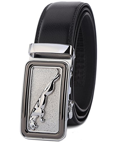 ITIEZY Men's Leather Belt Ratchet Automatic Buckle (Sliding Buckle) Belt Man Designer Black Luxury Strap (Designer Belt Buckle)