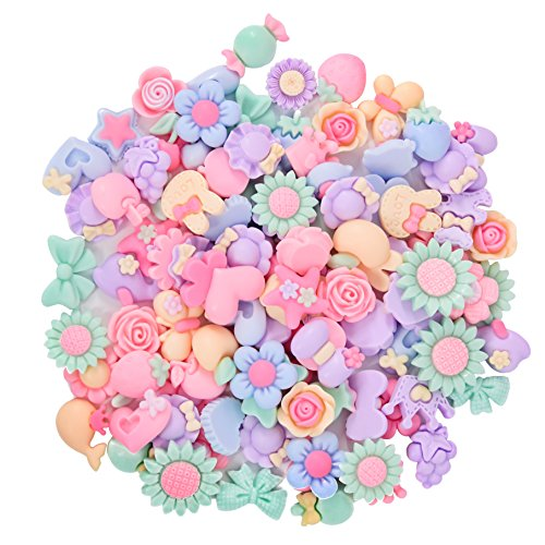 Ancefine 100pcs Mixed Lots Resin Flatback Button Flower Bow for Hair Clip Scrapbooking Embellishments Craft Accessory