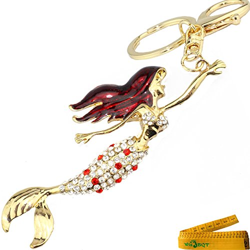 Romantic Lovely Charming Mermaid Crystal Rhinestone Keychain Key Chain Key Ring Charm (Red Mermaid) -