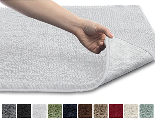 Gorilla Grip The Original Shaggy Chenille Bathroom Rug Mat, 3 Sizes and 10 Colors, Extra Soft and Absorbent, Machine-Washable, Perfect for Bath, Tub, and Shower (White, 30