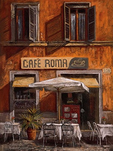 - HeritageArtDecor Cafe Roma - Fine Art Print on Canvas Home Decor Print 14 x 18 Inch - Home Decor Wall Art Painting Canvas Print ONLY -NO Frame