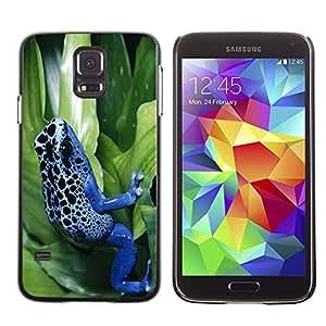 Caucho caso de Shell duro de la cubierta de accesorios de protección BY RAYDREAMMM - Samsung Galaxy S5 SM-G900 - Cool Neon Blue Jungle Frog