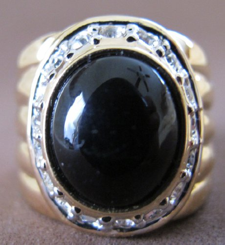 SIZE 9 Fashion LADIES RING Gold Tone PLATED BAND w Oval Shape Faux ONYX & 18 Crystal Stones (Oval Faux Onyx)