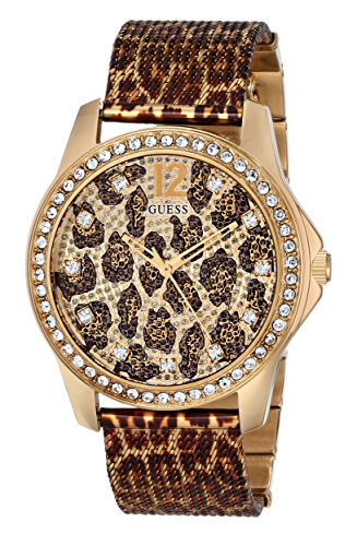 - GUESS Women's U0333L1 Animal Print Mesh Gold-Tone Watch