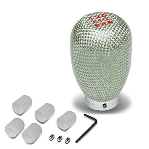 Nrg Silver Carbon Fiber - NRG SK-100SC Universal 42mm 5-Speed Silver Carbon Fiber Shift Knob