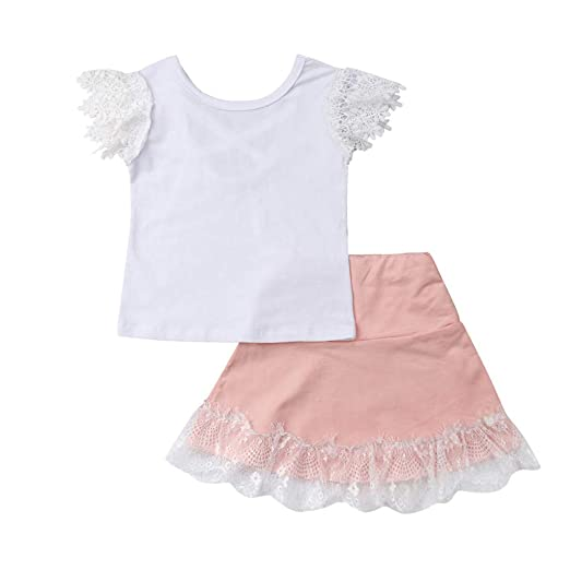 679d03ee3 Amazon.com: Kids Girls Clothes Set, Waymine Toddler Halter Bow Lace T-Shirt  Tops+Short Skirt Outfits: Clothing