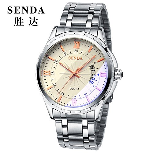 keybella Reloj de pulsera para hombre con correa de acero inoxidable plata impermeable reloj nottilucenti Hombre