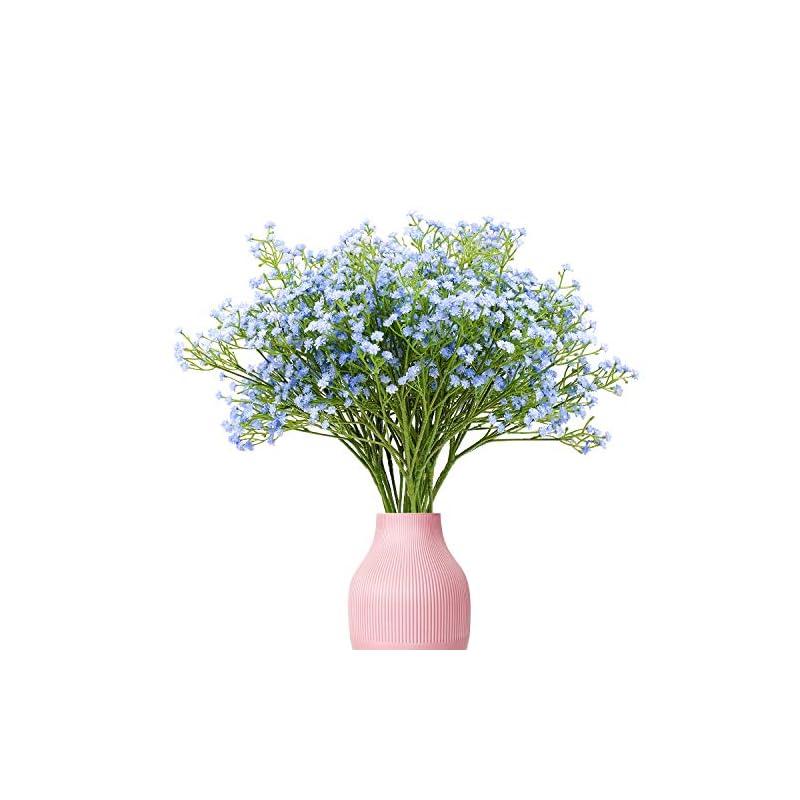 silk flower arrangements yunuo 12pcs artificial baby breath/gypsophila silk flower wedding bridal bouquet home party decor gift (light blue)