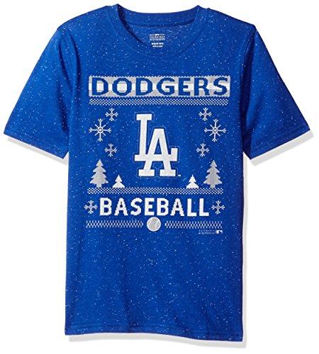 MLB Youth Boys 8-20 Dodgers Fleck Short Sleeve Tee, Xl(18), Royal