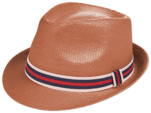 Enimay Vintage Unisex Fedora Hat Classic Timeless Light Weight 0197 - Brown Size S/M by Enimay